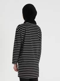 Black - Stripe - Crew neck - - Tunic