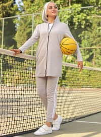Gray - - Tracksuit Set - Sports