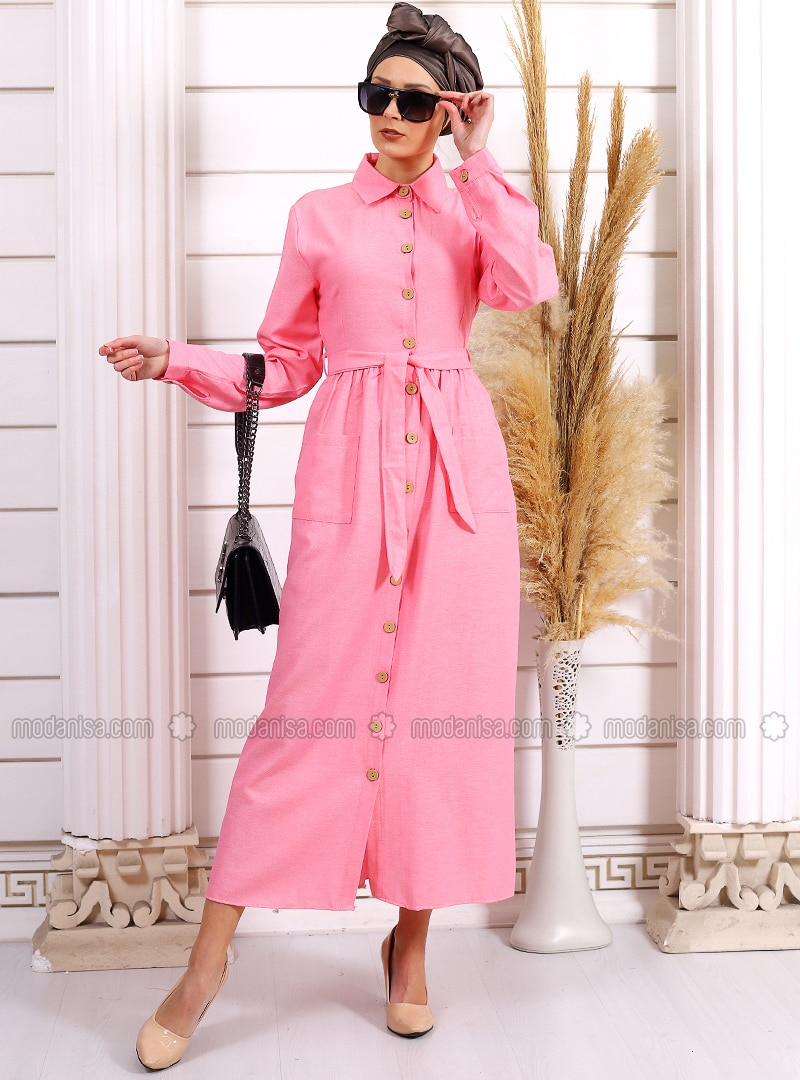 Pink - Point Collar - Unlined -  - Dress