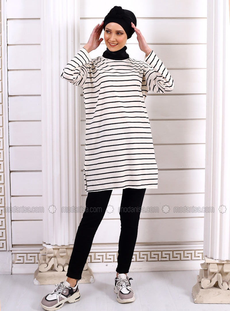 Cream - Stripe - Crew neck -  - Tunic