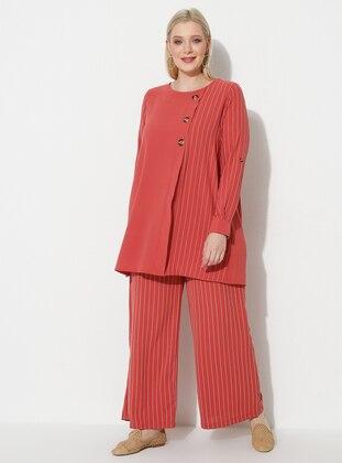 Dusty Rose - Stripe - Plus Size Pants