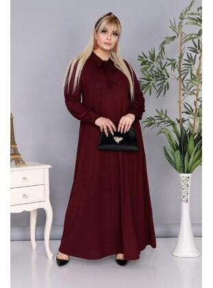 Maroon - Plus Size Dress
