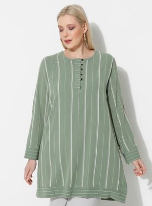Green - Stripe - Crew neck - Plus Size Tunic
