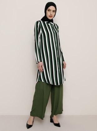 Multi - Green - Stripe - Point Collar - Viscose - Tunic