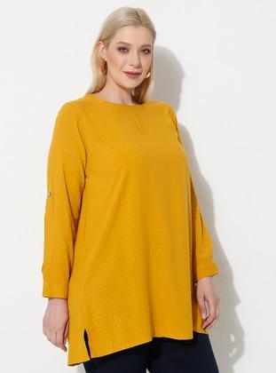 Mustard - Stripe - Crew neck - V neck Collar - Plus Size Tunic