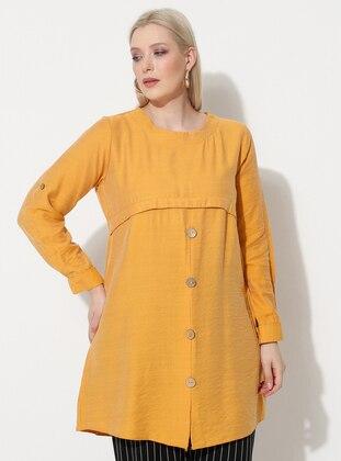 Mustard - Crew neck - Plus Size Tunic