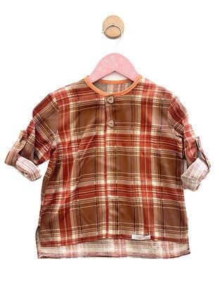 Plaid - Crew neck -  - Unlined - Terra Cotta - Boys` Shirt