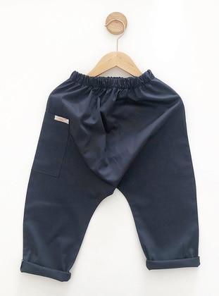 Crew neck -  - Unlined - Navy Blue - Boys` Pants