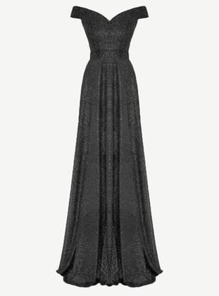 Black - Fully Lined - Boat neck - Muslim Evening Dress - MEKSİLA