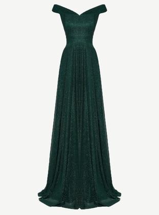 Emerald - Fully Lined - Boat neck - Muslim Evening Dress