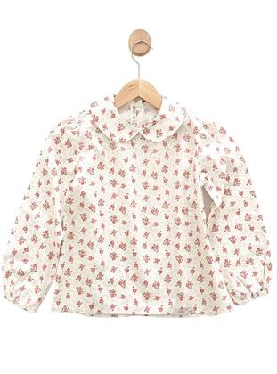 Floral - Round Collar - Cotton -  - Unlined - Beige - White - Ecru - Girls` Blouse