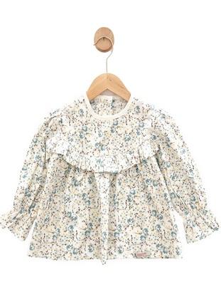 Floral - Crew neck - Cotton -  - Unlined - White - Ecru - Multi - Girls` Blouse - Flaminigo Çocuk