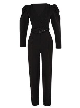 Black - Unlined - V neck Collar - Jumpsuit