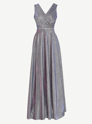 Purple - Half Lined - V neck Collar - Muslim Evening Dress