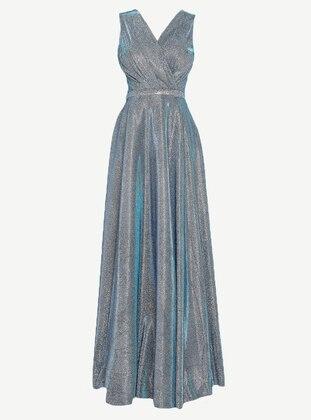 Saxe - Half Lined - V neck Collar - Muslim Evening Dress