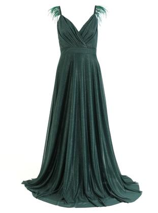 Emerald - Fully Lined - V neck Collar - Muslim Evening Dress