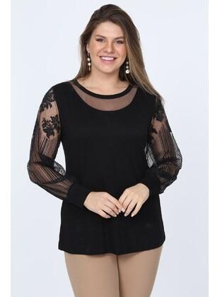 Black - Plus Size Blouse - MJORA
