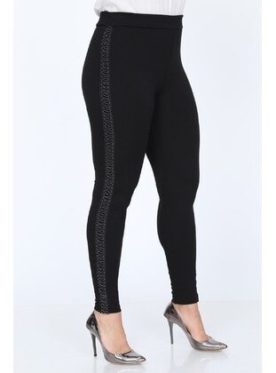 Black - Plus Size Leggings - MJORA