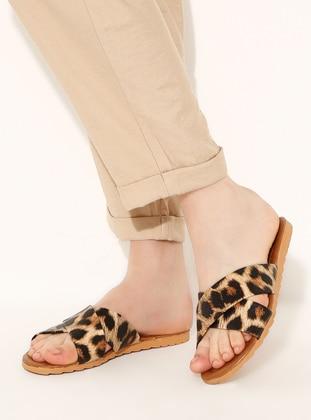 Beige - Leopard - Sandal - Slippers