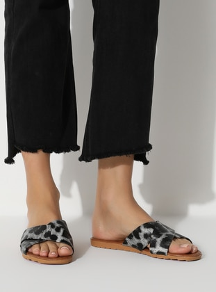 White - Leopard - Black - Sandal - Slippers