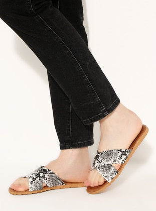 White - Black - Sandal - Slippers
