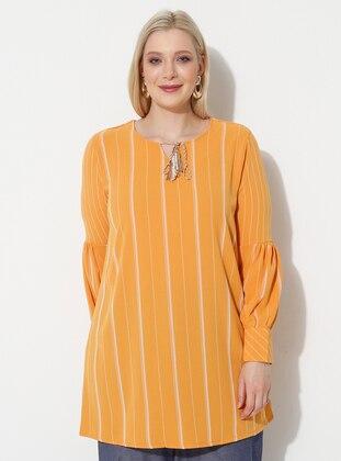 Mustard - Stripe - Crew neck - Plus Size Tunic