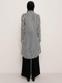 Black - Stripe - Point Collar - Viscose - Tunic