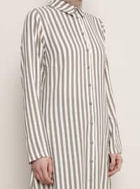 Mink - Stripe - Point Collar - Viscose - Tunic