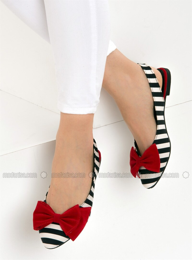 White - Red - Black - Flat - Flat Shoes
