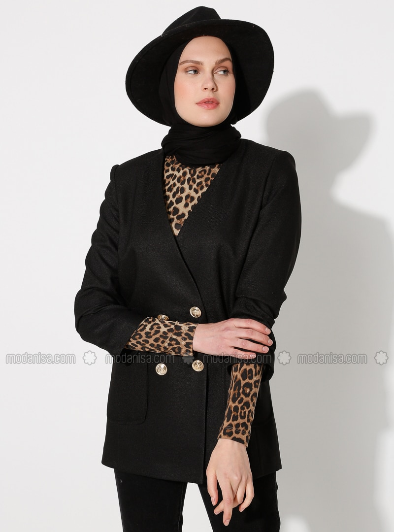 Black - Unlined - V neck Collar - Jacket