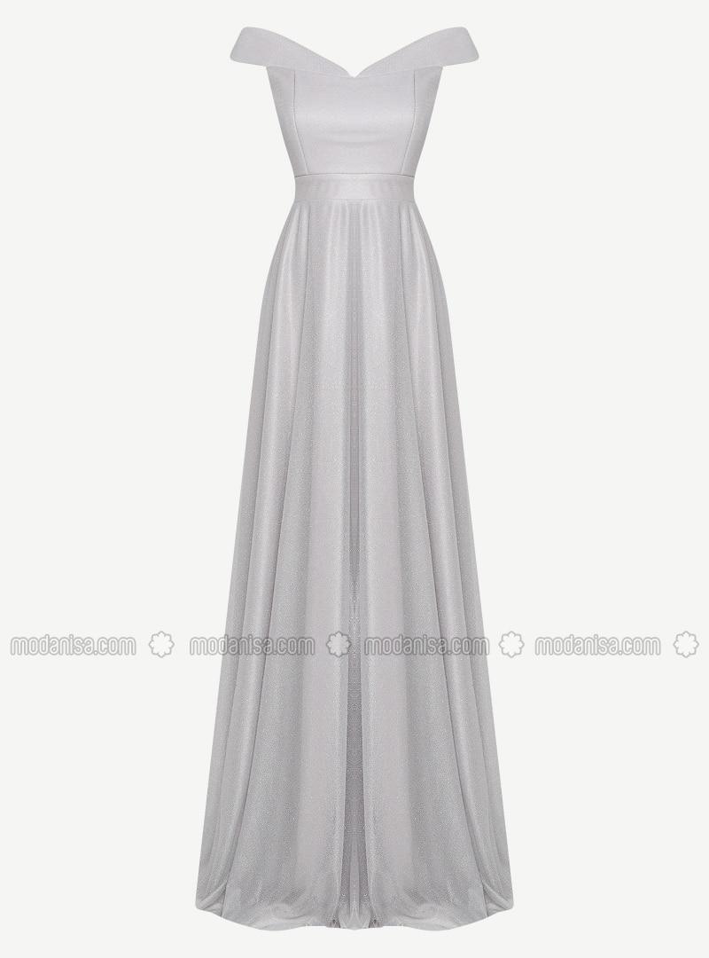 Gray - Fully Lined - Boat neck - Muslim Evening Dress