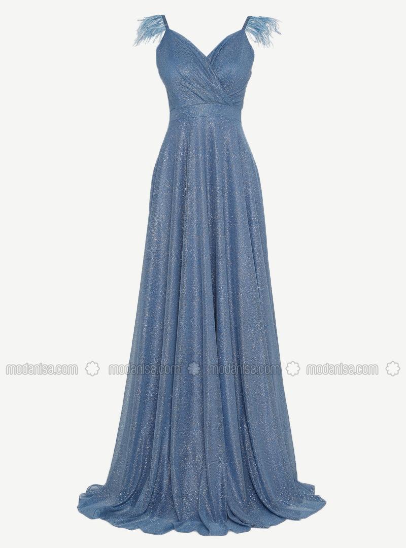 Indigo - Fully Lined - V neck Collar - Muslim Evening Dress