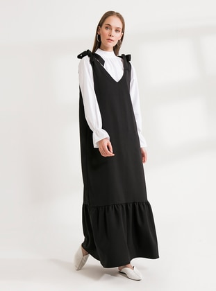 Black - Black - V neck Collar - Unlined - Dress