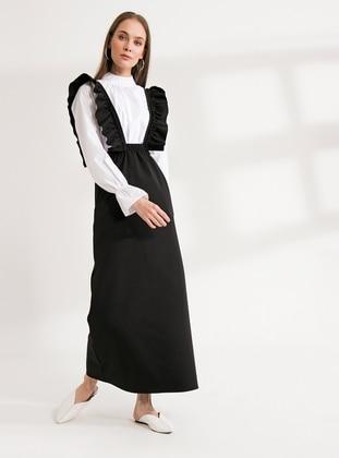 Black - Black - Sweatheart Neckline - Unlined - Cotton - Black - Sweatheart Neckline - Unlined - Cotton - Black - Sweatheart Neckline - Unlined - Cotton - Black - Sweatheart Neckline - Unlined - Cotton - Skirt Overalls
