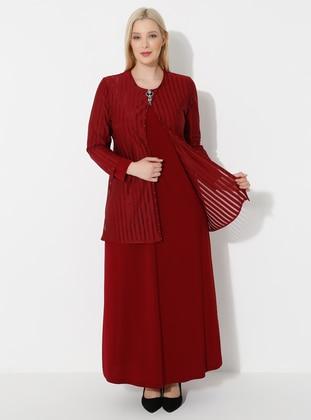 Maroon - Crew neck - Muslim Plus Size Evening Dress