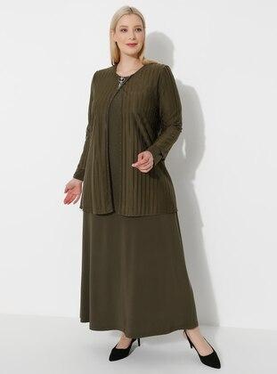Khaki - Crew neck - Muslim Plus Size Evening Dress