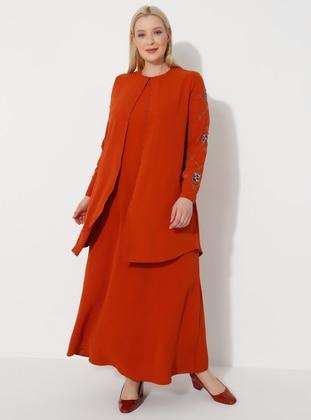 Terra Cotta - Crew neck - Muslim Plus Size Evening Dress