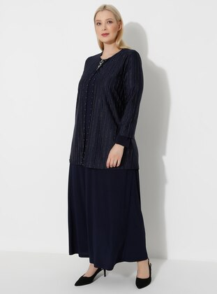Navy Blue - Crew neck - Muslim Plus Size Evening Dress