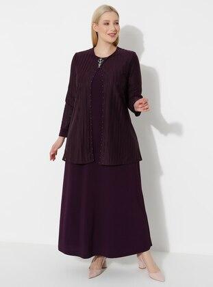 Plum - Crew neck - Muslim Plus Size Evening Dress