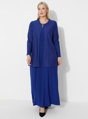 Saxe - Crew neck - Muslim Plus Size Evening Dress