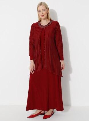 Maroon - Crew neck - Plus Size Dress