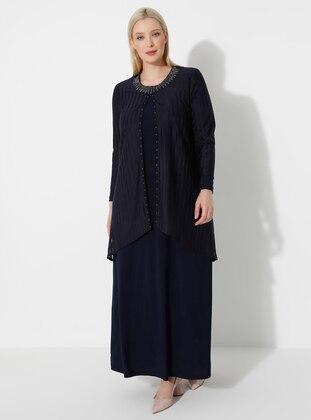 Navy Blue - Crew neck - Plus Size Dress