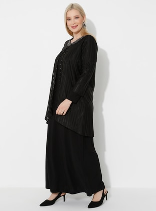 Black - Crew neck - Plus Size Dress
