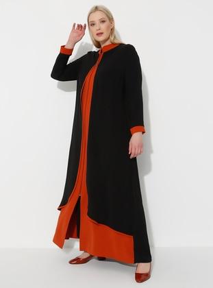Black - Tan - Crew neck - Unlined - Plus Size Abaya