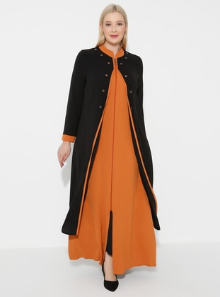 Camel - Black - Crew neck - Unlined - Plus Size Abaya