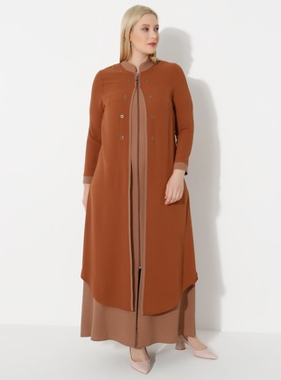 Tan - Mink - Crew neck - Unlined - Plus Size Abaya