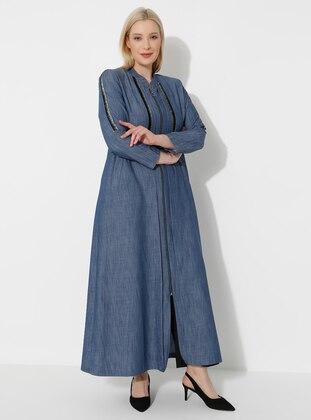 Navy Blue - Unlined - Crew neck - Plus Size Coat