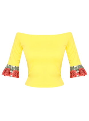 Yellow - Boat neck - Blouses
