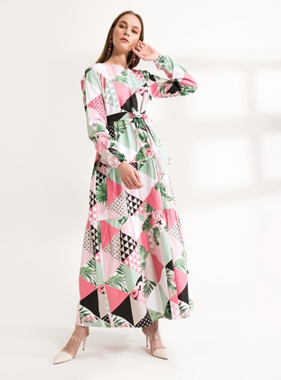 Pink - Green - Ethnic - Geometric - Crew neck - Unlined - Cotton - Dress