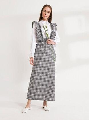 White - Black - Sweatheart Neckline - Unlined -  - Dress